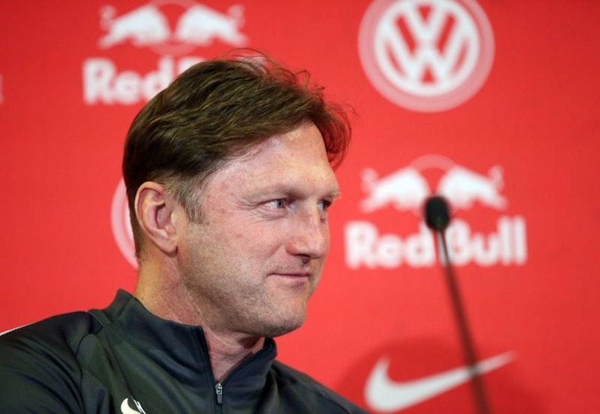 Ralph Hasenhüttl auf der Pressekonferenz vor dem Spiel zwischen Hertha BSC und RB Leipzig.