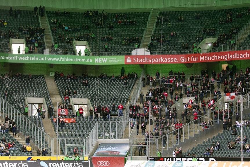 Der Gästeblock in Mönchengladbach wird gegen Leipzig ordentlich gefüllt sein.