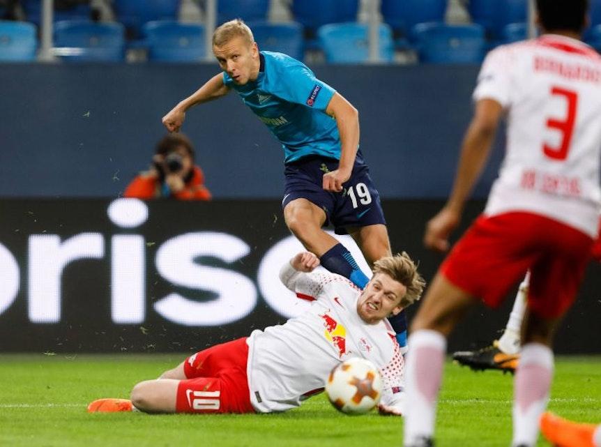 Emil Forsberg warf für RB Leipzig im Spiel bei Zenit St. Petersburg alles rein und berichtete nach dem Spiel von Erinnerungslücken.
