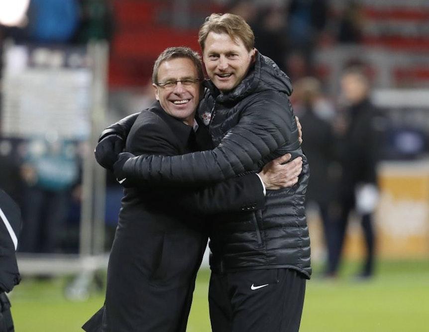 Ralf Rangnick und Ralph Hasenhüttl: vertrauensvolle Zusammenarbeit bei RB Leipzig.