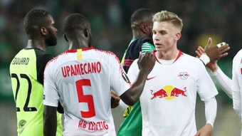 Ein großer Moment für Erik Majetschak, als er mit RB Leipzig in der Europa League gegen Celtic Glasgow randurfte.