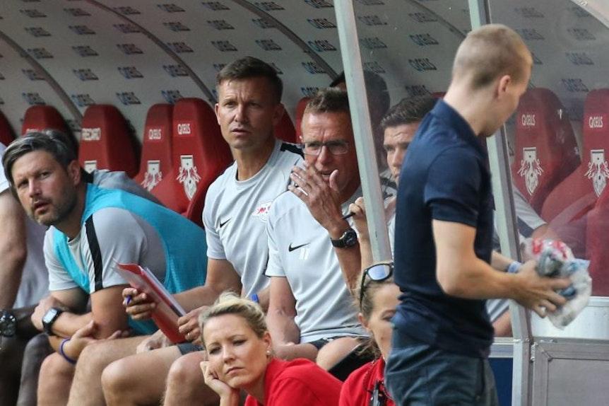 Trainer Ralf Rangnick (re.) und Co-Trainer Jesse Marsch.