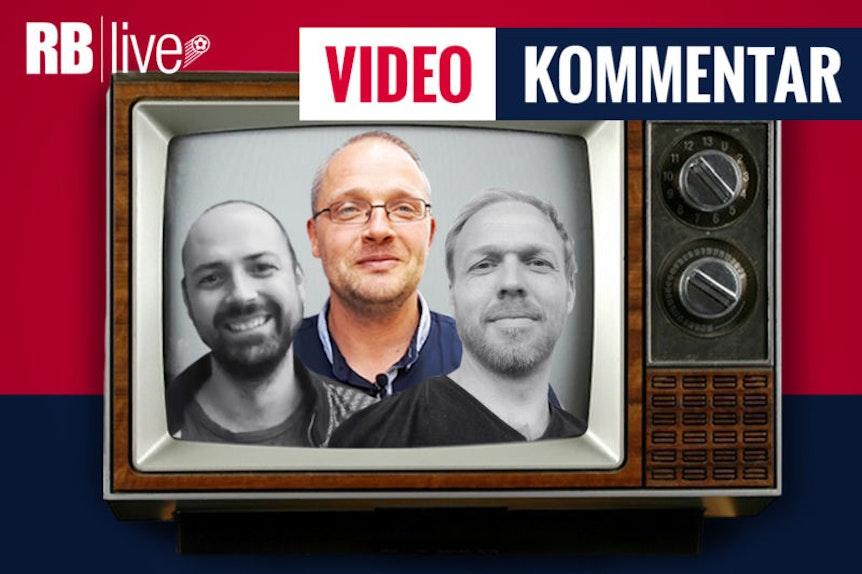 Im RBlive-Videokommentar bewertet das Trio Ullrich Kroemer, Matthias Kießling (hervorgehoben) und Martin Henkel (von links) den kommenden Spieltag bei RB Leipzig (Bild: RBlive).