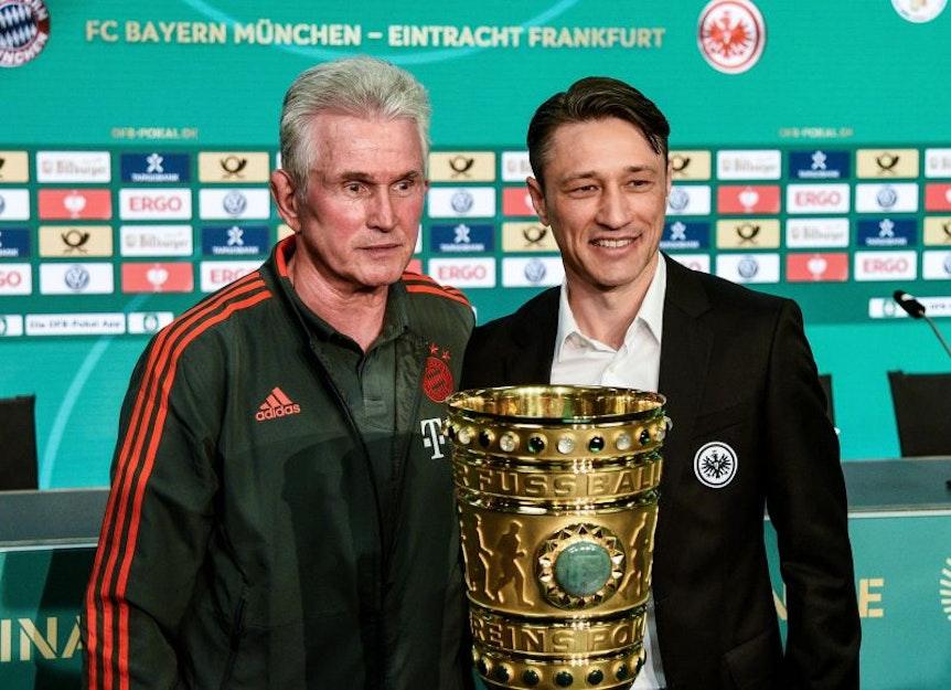 Weil Niko Kovac (re) den Pokal gewann, muss RB Leipzig in die Europa-League-Qualifikation ab Ende Juli.