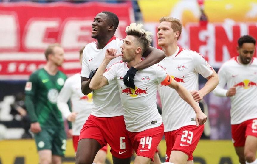 Für RB Leipzig gab es beim 2:0 gegen Wolfsburg viel Grund zur Freude.
