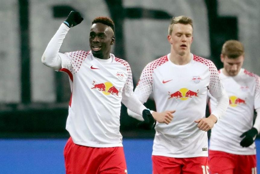 Jean-Kevin Augustin durfte sich über das dritte Tor im dritten Spiel für RB Leipzig hintereinander freuen.