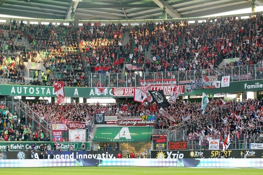 Voller als in Wolfsburg wird der Gästeblock von RB Leipzig in München auf jeden Fall.
