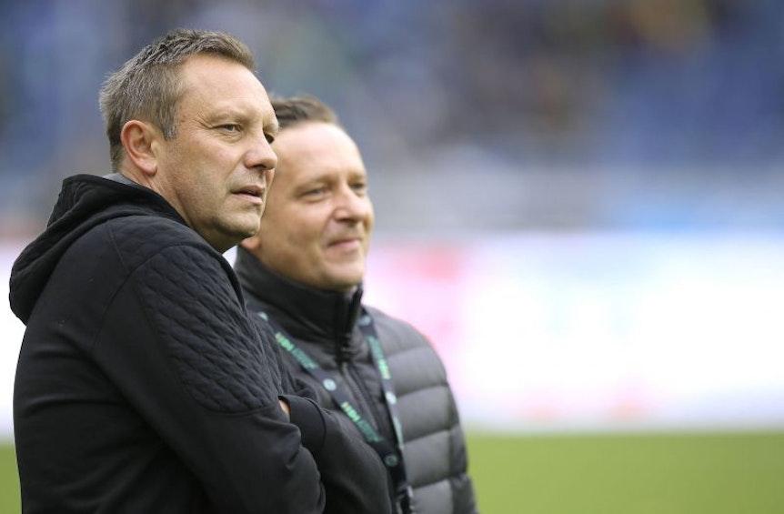 Andre Breitenreiter (li) und Hannover 96 sind vor der Partie gegen RB Leipzig guter Dinge.
