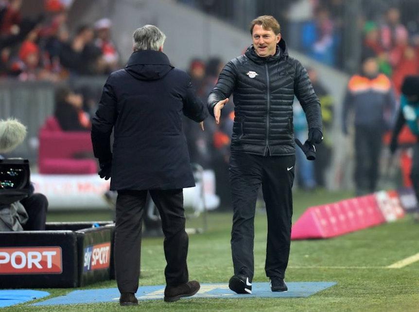Ralph Hasenhüttl und Carlo Ancelotti beim Gipfeltreffen von RB Leipzig und FC Bayern München im Dezember