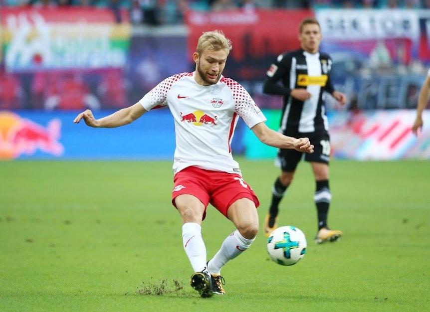 Konrad Laimer gegen Borussia Mönchengladbach.