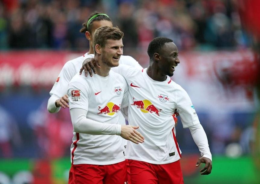 Timo Werner und Naby Keita jubeln bei RB Leipzig gerne gemeinsam.