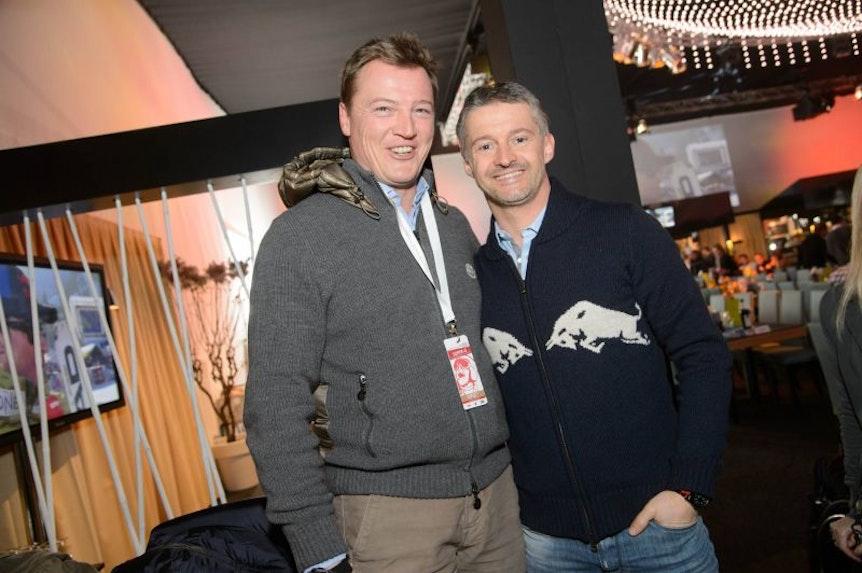 Eine gewisse Nähe zu Red Bull ließ sich bei Harald Lürzer (re) schon vor 2017 erkennen. Hier beim Hahnenkammrennen 2013.