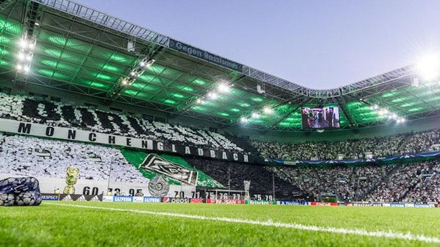 Gladbach-Fans in der Nordkurve zeigen vor einem Champions-League-Spiel eine Choreografie.