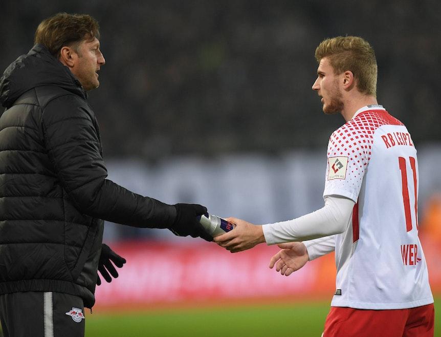Treffen am Samstag zum ersten Mal in der Premier League aufeinander: Die Ex-Leipziger Ralph Hasenhüttl (l.) und Timo Werner.