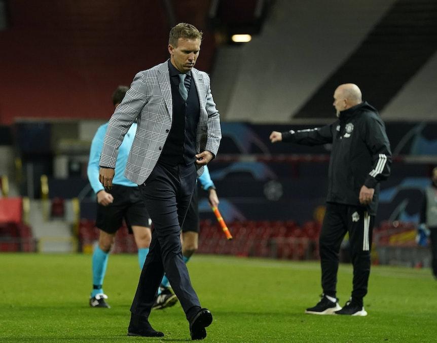 Not happy: RB-Coach Julian Nagelsmann nach dem 0:5 in Manchester