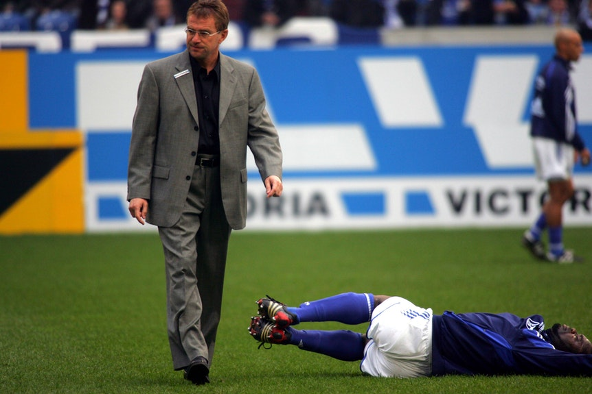 Ex-Schalke-Coach Ralf Rangnick und Ex-Schalke-Profi Gerald Asamoah