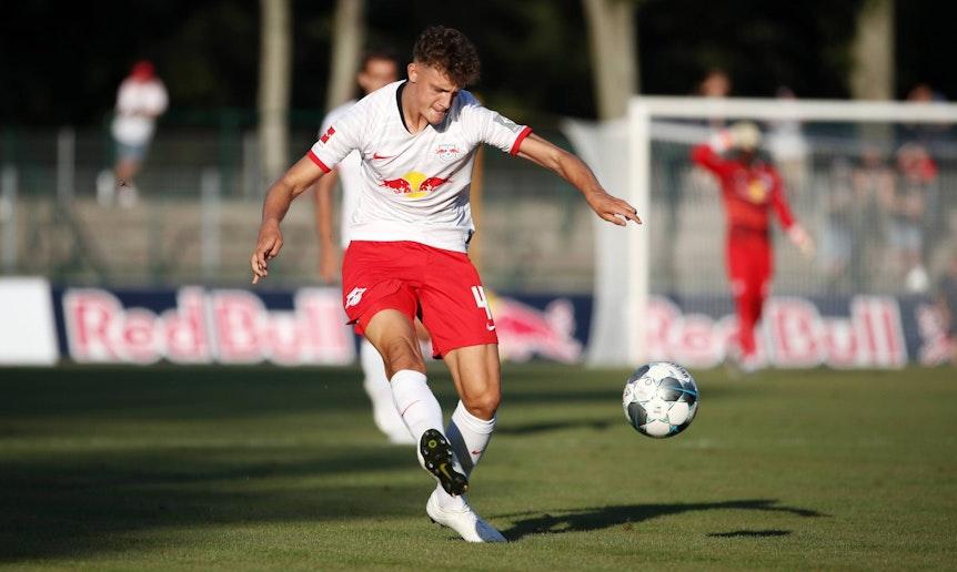 Kraftvoll: Eric Martel debütierte bei den Profis von RB Leipzig (Archivfoto).