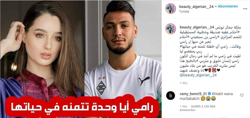 Die Instagram-Seite beauty_algerian_24 hat das Liebesgerücht um Ahlem Fekih (l.) und Ramy Bensebaini (r.) in die Welt gesetzt. Bensebaini selbst dementierte später in den Kommentaren.