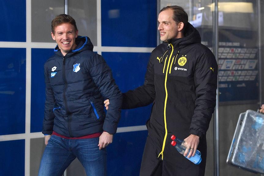 Zweites Aufeinandertreffen in der Bundesliga: Julian Nagelsmann und Thomas Tuchel im Dezember 2016.