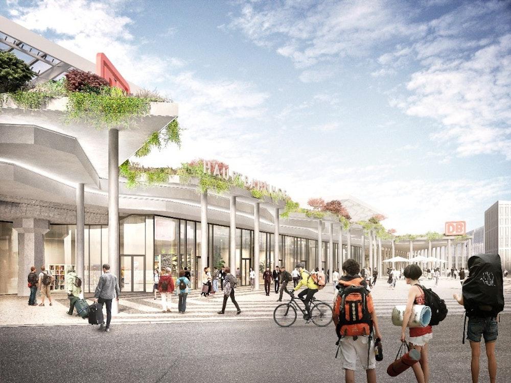 Die Fassade des Kölner Hauptbahnhofs Richtung Breslauer Platz nach dem Entwurf von Architekturbüro J.MAYER.H
