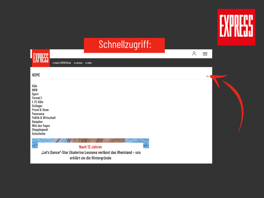So sieht die neue Startseite EXPRESS.de aus.