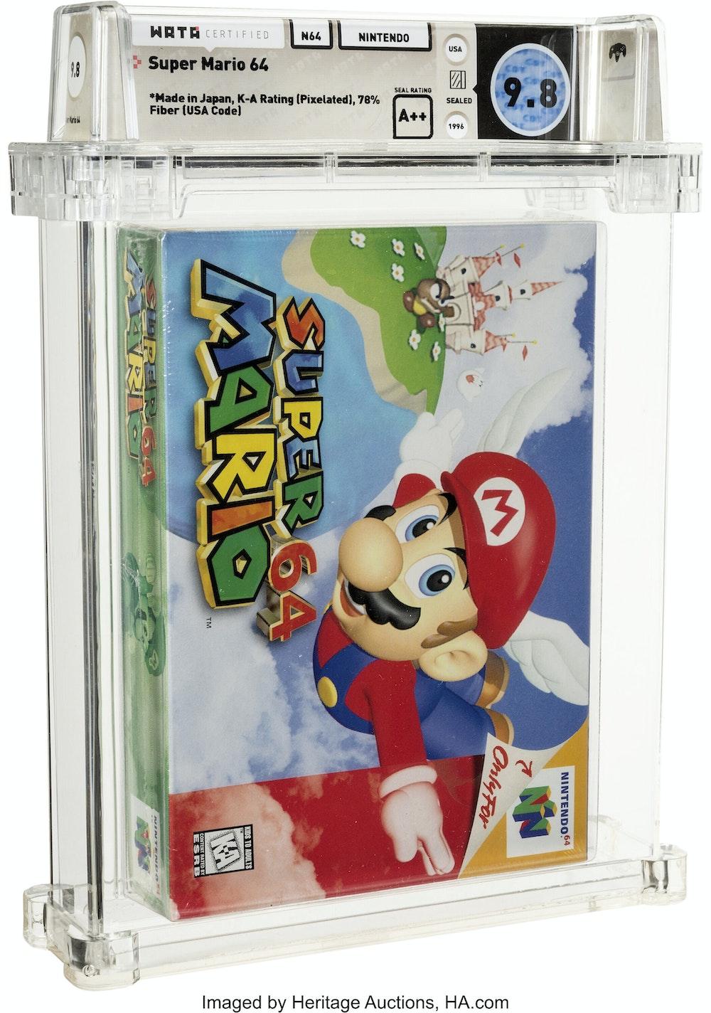 Dieses von Heritage Auctions zur Verfügung gestellte Foto zeigt die versteigerte ungeöffnete Kopie von Nintendos Super Mario 64.