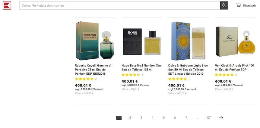 """Der Anbieter """"Fragrancia"""" verlangte für Kosmetik-Produkte Versandkosten in Höhe von 5000 Euro."""