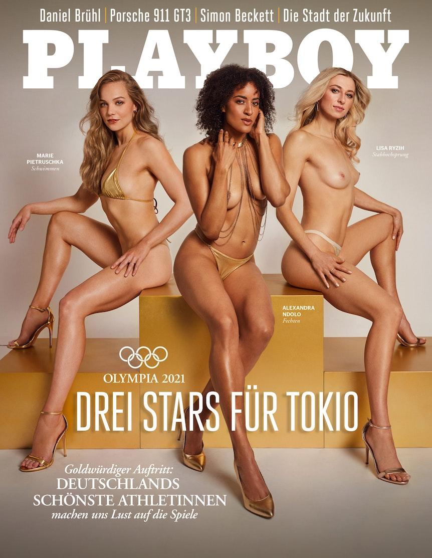 Marie Pietruschka, Alexandra Ndolo und Lisa Ryzih auf dem Playboy-Cover