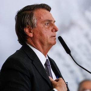 Auf diesem vom brasilianischen Präsidentenamt zur Verfügung gestellten Bild spricht Jair Bolsonaro, Präsident von Brasilien, während einer offiziellen Veranstaltung.