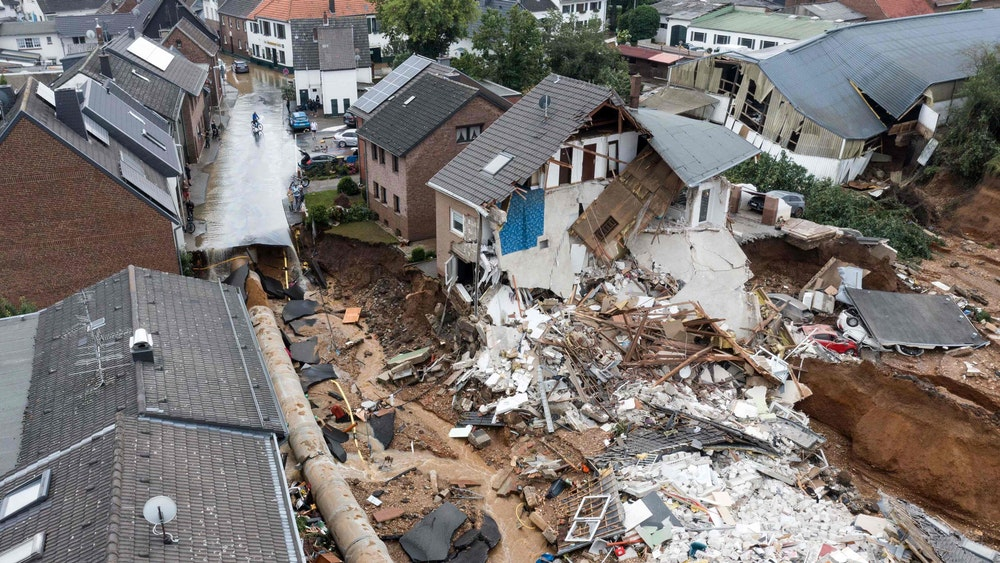 Zerstörte Häuser in Erftstadt-Blessem.