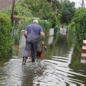 Ein Mann schiebt eine Schubkarre durch das knöcheltiefe Wasser eines überschwemmten Weges.