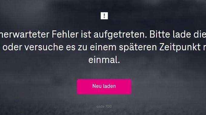 Fehlermeldung bei MagentaSport beim Testspiel zwischen Bayern München und dem 1. FC Köln.