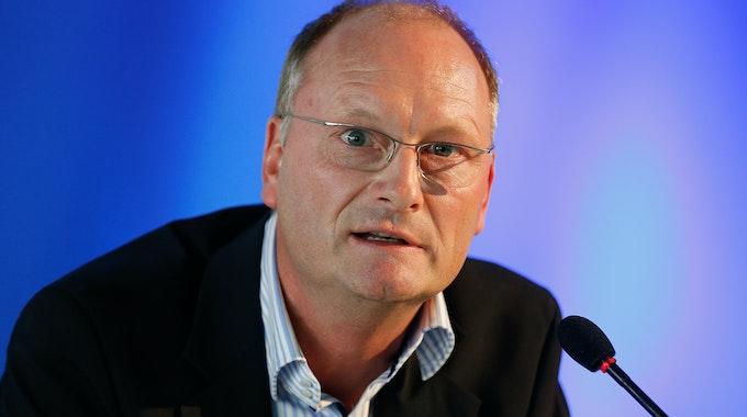 ARD-Wetterexperte Sven Plöger bei einem Extremwetterkongress in Hamburg am 23. September 2013.