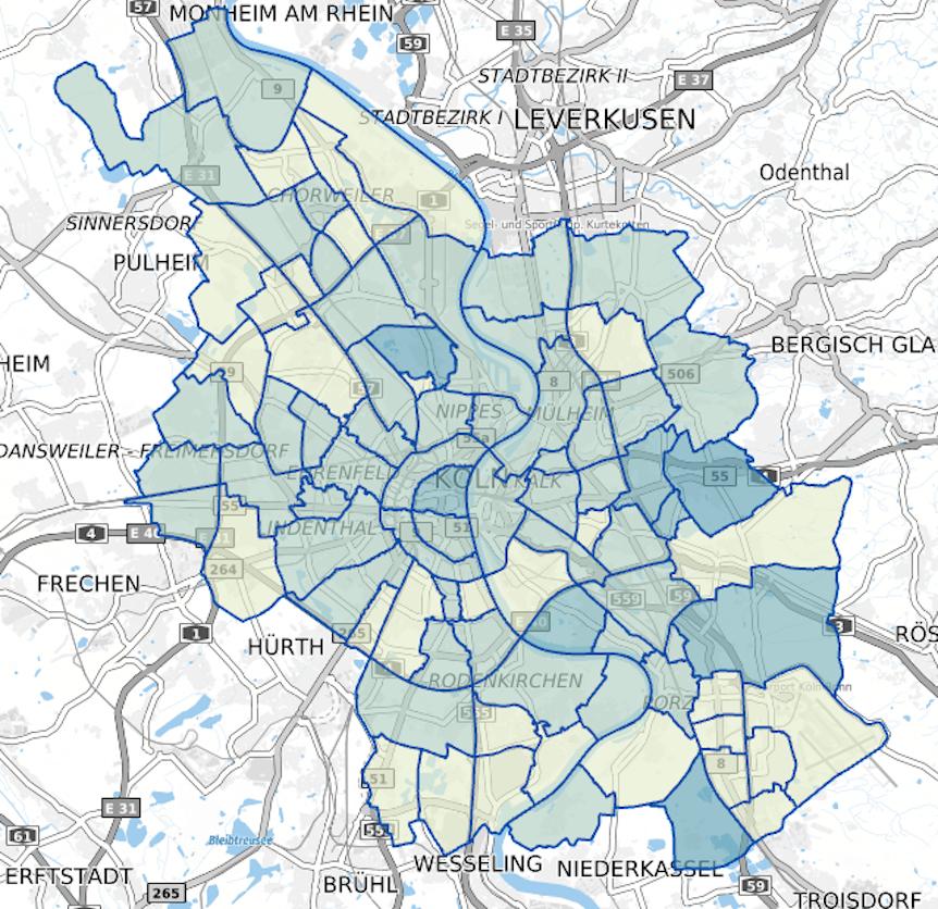 Die Corona-Karte der Stadt Köln zeigt die Entwicklung der Inzidenzwerte in den einzelnen Stadtteilen.