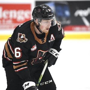 Luke Prokop am 5. März 2021 in einem Spiel der Calgary Hitmen gegen die Red Deer Rebels.