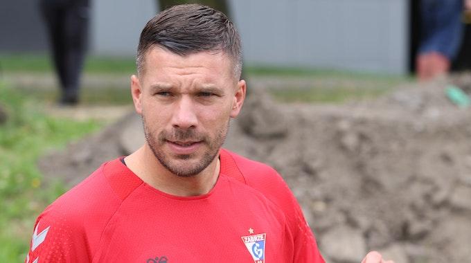Lukas Podolski während einer Trainingseinheit bei Gornik Zabrze