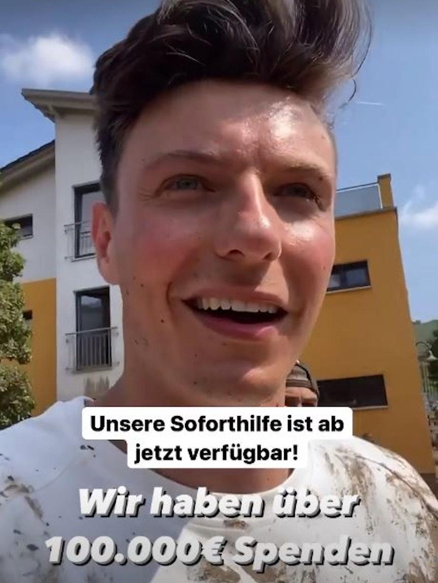 21. Juli 2021 Der Kölner Influencer Jan, bekannt als jax.vita, half Flutopfern in Dernau in Rheinland-Pfalz. Fotos: Instagram/jax.vita