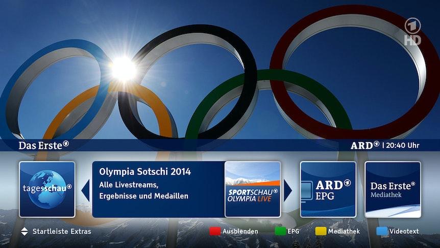 Das HbbTV-Angebot der ARD rund um Olympia.