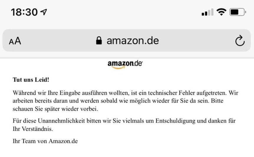 Störung des Internets in ganz Deutschland - hier ein Screenshot von der nicht erreichbaren Amazon-Homepage.