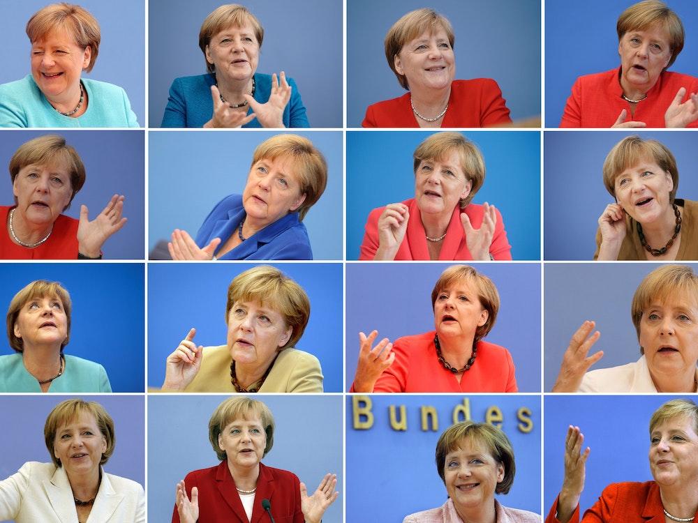Angela Merkel auf ihren 16 Sommer-Pressekonferenzen von 2006 bis 2021.