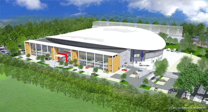 Das neue Radsportzentrum NRW in Köln nach Umbau des alten Radstadions 2024 von außen