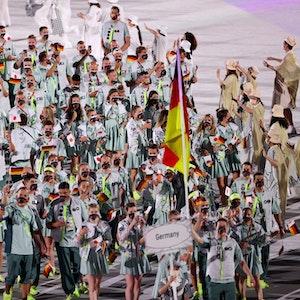Das deutsche Olympia-Team bei der Eröffnungsfeier am 23. Juli in Tokio.