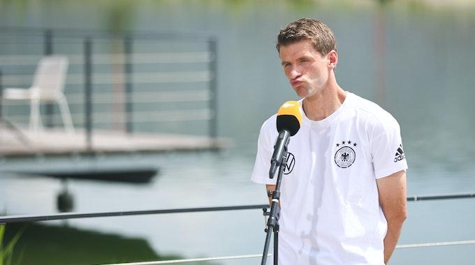 Thomas Müller am 26. Juni während der EM bei einem ZDF-Interview.