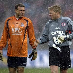 Markus Pröll und Oliver Kahn nach demBundesligaspiel FC Bayern München gegen den 1. FC Köln.