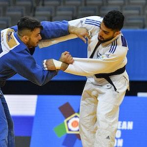 Judoka Tohat Butbul kämpft bei der EM gegen Fabio Basile.