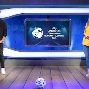 Christian Düren und Anna Kraft führten für die ProSieben-Sat.1-Gruppe durch die Übertragung der U21-Europameisterschaft im Jahr 2021.