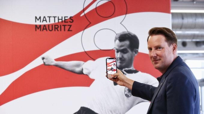 Begehung des neu gestalteten Umlaufs in der MSA Garffiti und digitalen Bildern mit Marketing-Cheff Christian Koke Foto: Anke Hesse 28.07.2021