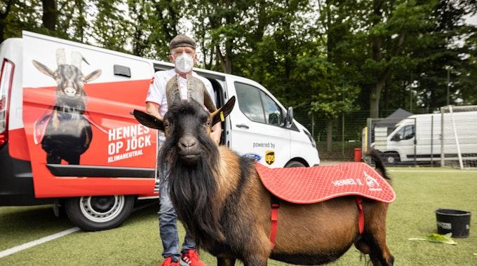 1. FC-Köln-Maskottchen Hennes IX. vor einem emissionsfreien Ford Transit Custom Plug-in Hybrid mit Betreuer Ingo Reipka
