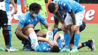 Verletzung am Innenband: Diego Demme nach sdem Foul an ihm im Spiel gegen Pro Vercelli