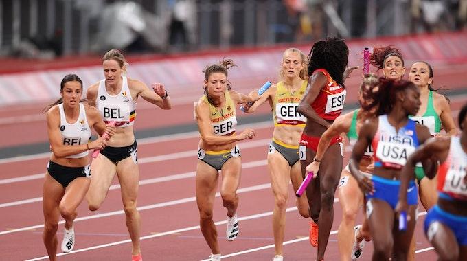 Die deutsche Mixed-Staffel über 4x400 Meter mit Corinna Schwab und Ruth Sophia Spelmeyer-Preuss schaffte es ins Finale nach einem Protest.